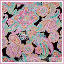BonEful Fabric FQ Cotton Quilt Brown Rainbow Flower Groovy Hippie Paisley Gothic