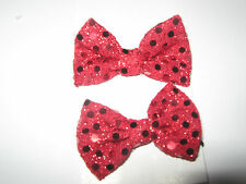 2 red velvet bow bobbles for dance//disco//cheerleader//parties//fancydress