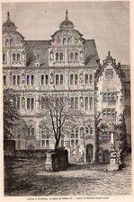 HEIDELBERG CHATEAU PALAIS FREDERIQUE IV CASTLE  GERMANY IMAGE 1867 OLD PRINT
