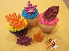 12 Fall Leave Rings Oak Maple Sycamore Cupcake Cake Pop Decorations Party Favors