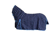 AXIOM POLYCOTTON BLUE & NAVY CHECK RIPSTOP UNLINED HORSE COMBO RUG 6'0