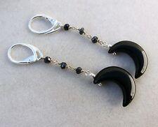 Orecchini in argento 925, spinello nero e luna di onice nero