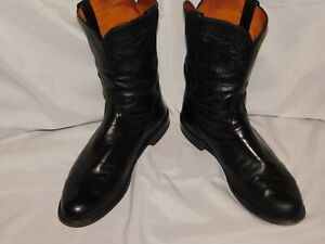 LUCCHESE BLACK LEATHER ROPER BOOTS SIZE 13D