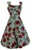 Hearts & Roses 50s Ditsy Rose Blue Floral Summer Dress …