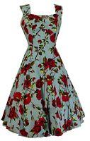Hearts & Roses 50s Ditsy Rose Blue Floral Summer Dress …