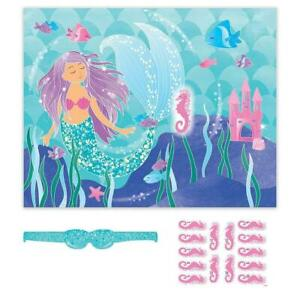 Mermaid Tail Party Game Stick  Pin The Sea Horses Girls Birthday  14 Players Sea