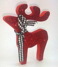 RED GLITTER DEER REINDEER BIRTHDAY CHRISTMAS DECORATION SHABBY CHIC HOME