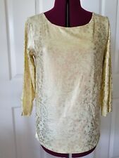 Chico's Vintage Lace Maggie Top 3/4 Sleeve Pale Soft Lime Sz 1 Medium 8-10 NWT
