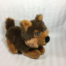 Kelly Trading Int'l Corp Vintage Plush Brown Huskey Wolf Dog Blue Eyes Stuffed