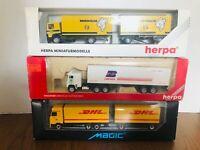 *Lot of 3* Herpa HO Scale Transport Trucks - Michelin / NB America / DHL