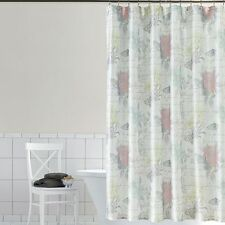 Home Classics Emiliana Floral Fabric Shower Curtain with Bronze Metal Hooks NEW