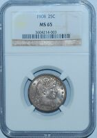 1908 NGC MS65 Barber Quarter