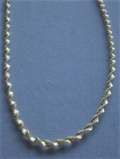 "20"" TWO TONE STERLING SILVER/GOLD NECKLACE TWISTED SHIMMERY  ITALY 925"