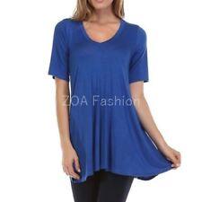 USA Womens V-Neck A-Line Tunic Short Sleeve Loose Top Shirt Plus Rayon Span PLUS