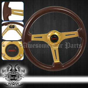 """For Chevy 345mm Wood Grain 2"""" Deep Dish Extended Steering Wheel Steel Frame Gold"""