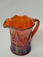 VINTAGE CARNIVAL GLASS PITCHER ORANGE IRIDESCENT LARGE WATER PITCHER