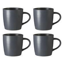 Malmo Set of 4 Slate Grey Tea Coffee Mugs Drinking Cups Hot Drinks Beverages