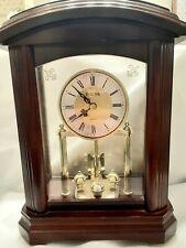 🕰 Bulova Bramley Walnut Mantel/Shelf Clock 🎖 Beautiful Gold Rotating Accents