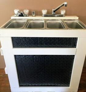 Concession Sink Portable 3 Compartment Sink, Scratch & Dent BLK Diamond Plate