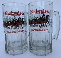 Vintage Budweiser King Of Beers Clydesdales 32 Oz. Glass Holiday Beer Mug 2-Each