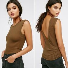 FREE PEOPLE Intimately Surplice V-Back Tank Top, Olive, US Size Small, NWOT
