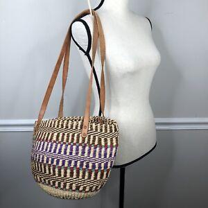 Large Boho Tote Bag Handmade Ethiopian Sisal Grass Leather Handles beach