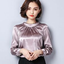 Women Lady Faux Satin Silk Shirt Baggy Retro Long Sleeve Top Blouse Pullover Fit