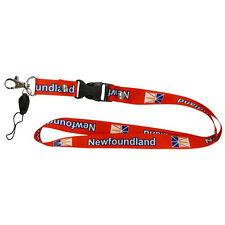 NEWFOUNDLAND CANADA PROVINCIAL FLAG RED LANYARD KEYCHAIN PASSHOLDER .. NEW
