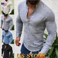 Men Fashion Slim Fit Button Henley V Neck Shirt T-Shirt Long Sleeve Blouse Tops