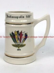 "Scarce The ""Cursed"" 1973 INDY 500 5¾"" Ceramic Beer Mug Stein Tavern Trove"