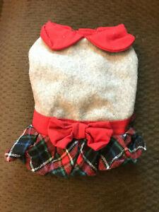 Martha Stewart Pets Dog Christmas Dress w/Plaid Skirt - XSmall