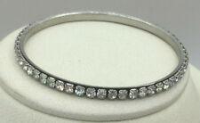 Vintage Style Bracelet Rhinestone Continuous Pattern Silvertone Thin Bangle