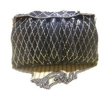 Women's Evening Party Black Silver Metal Beaded Sling Clutch Purse Made in Korea