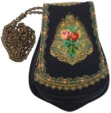 Michal Negrin Black Victorian Style Roses Small Purse Bag Pouch with Chain New