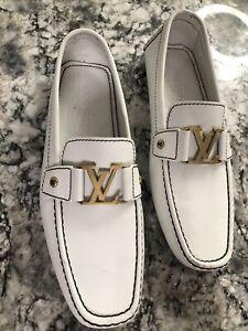 Louis Vuitton Mens Mocassin Size 10US LV SZ9 White W/gold Hardware Authentic👞👞