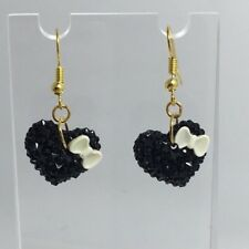 4 Cm Long Kawaii Barbie Medium Black White Bow Heart Earrings B150