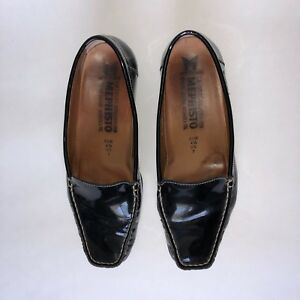MEPHISTO Womens Black Patent Leather Loafers US 7 Heels Shoes