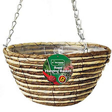 Kingfisher 12 Inch Rope Hanging Basket Wire Chain Wicker Garden Planter Plants