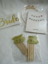 4 Piece Lot Bride Just Married Banner Crown Cupcake Toppers