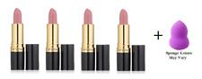 Revlon Super Lustrous Lipstick, Pink Pout, 0.15 oz (4 Pack) + Makeup Sponge