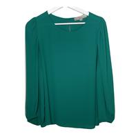 Ann Taylor Loft Womens Puff Sleeve Top Crew Neck Green Blouse Shirt Size Medium