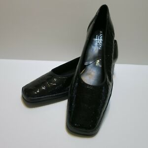 Sabrina Ladie's Black Patent Leather Pumps SZ 11AA Made in Italy Faux Croc $138