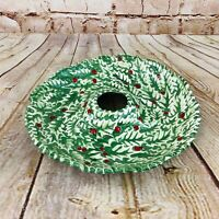 "Vtg Christmas dish holly design for candies etc hole for candle wreath MCM 11""W"