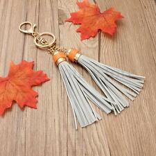 DOUBLE TASSEL BAG CHARM KEYRING GOLD GREY