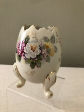 Vintage INARCO Cracked Egg Planter Brown Floral Japan Hand Painted