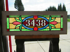 ~ ANTIQUE STAINED GLASS TRANSOM WINDOW ~ 32 X 12 ~ ADDRESS 3438 ~ SALVAGE ~