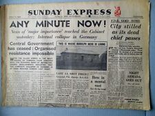 SUNDAY EXPRESS NEWSPAPER WWII APRIL 15, 1945 LONDON FDR DEAD