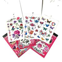 6 Large Temporary Tattoo Book, Rose Butterfly Flower Cartoon Tattoos for Girls