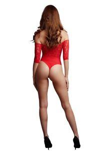 Body fendu rouge résille et strass - Le Désir