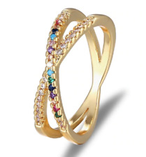 Multi Color Gold Double infinite Band Ring Size 7